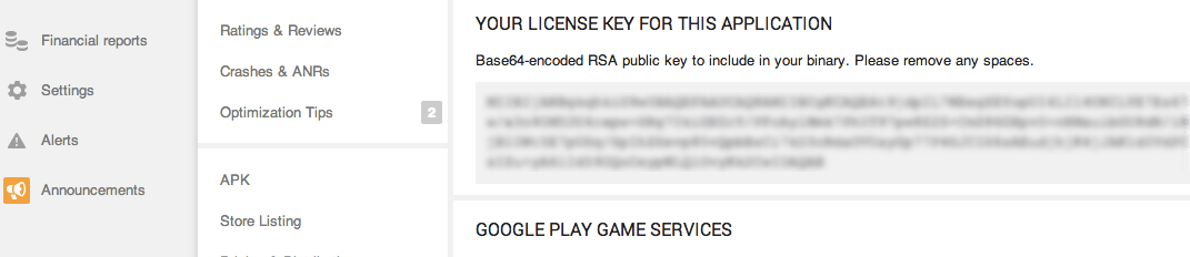 Google Play License Key