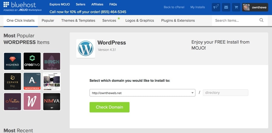 BlueHost WordPress Domain