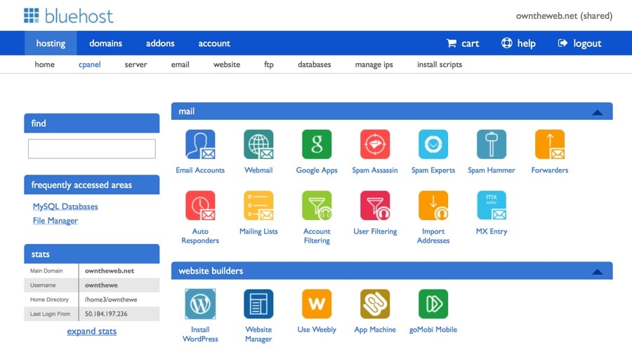 BlueHost cPanel WordPress
