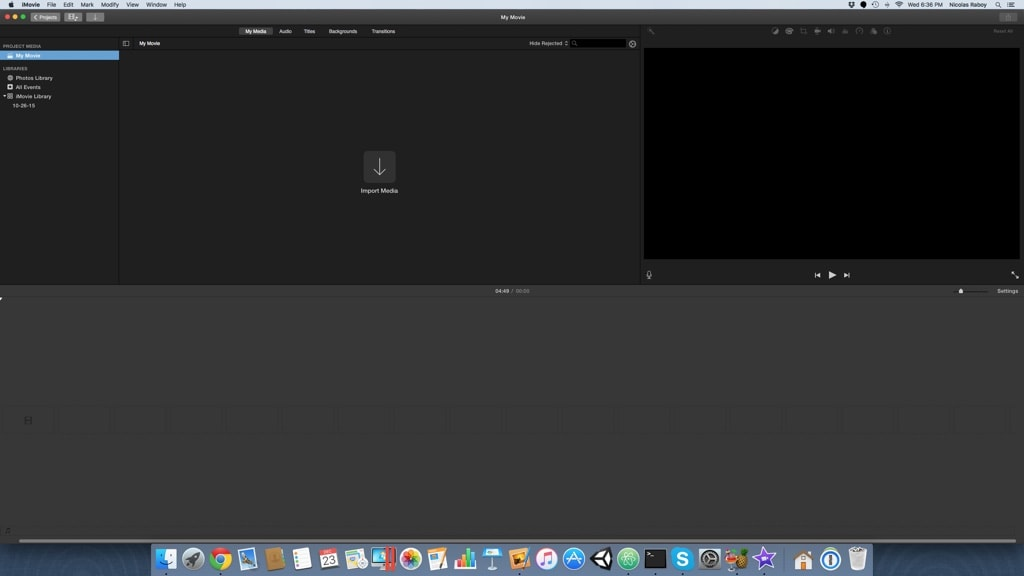 Blank iMovie 10 Project