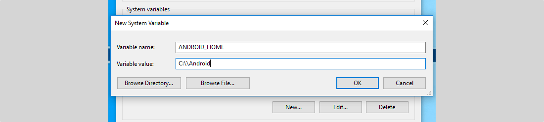 ANDROID_HOME Variable Defined In Windows