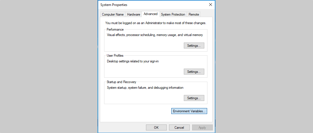 Windows System Properties Dialog