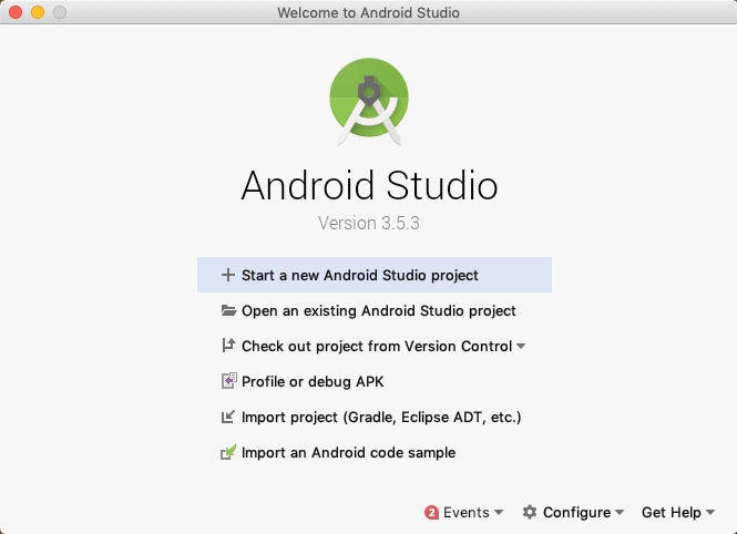 The opening screen to Android Studio