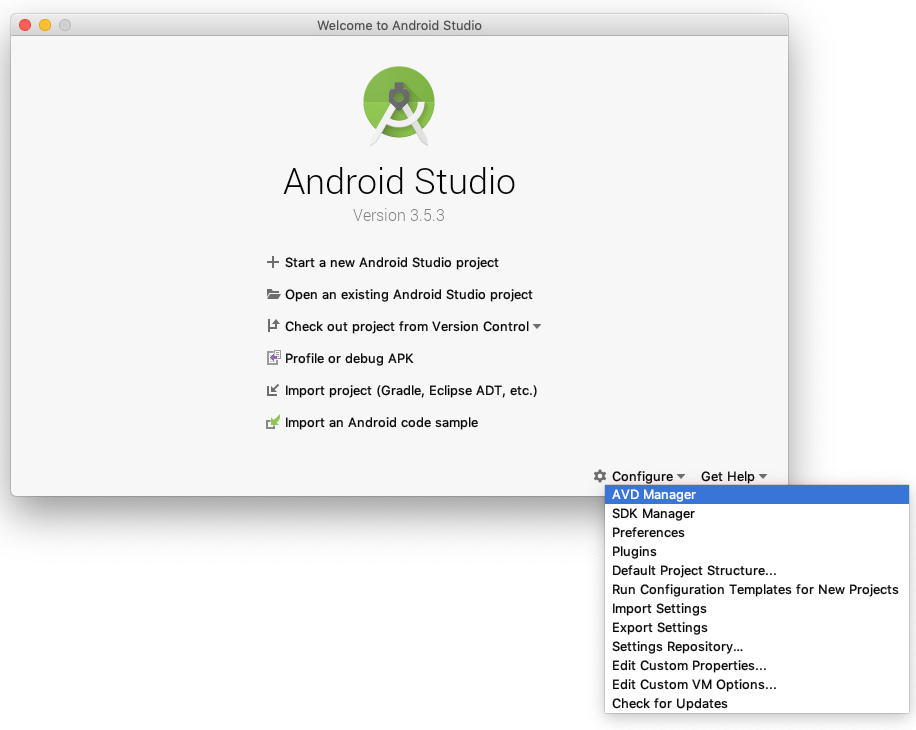 The sub-menu for configure in the Android Studio startup screen